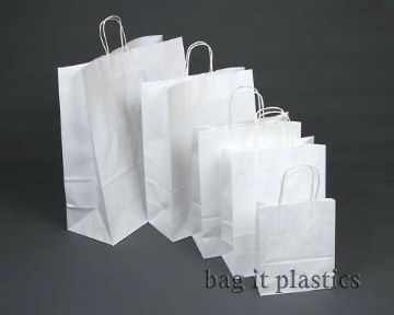 "TWIST HANDLE RIBBED PAPER BLOCK BOTTOM CARRIER BAGS - WHITE or BROWN - 9"" x 4¼"" x 12½"""